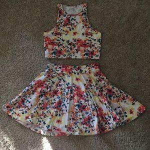 Floral Crop Tank & Skater Skirt Set